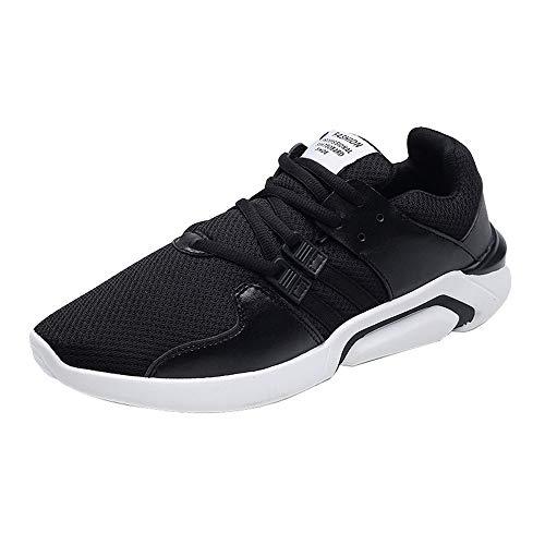GongzhuMM Trainers Hommes Sneakers Baskets Chaussures de Sport Chaussures de Travail Chaussures de Course pour Étudiant Noir/Blanc/Or 39-42.5 EU