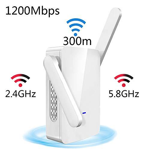 SHENGY Remote-WiFi-Signal-Extender, Verstärker, 2,4-G- und 5,8-G-Dual-Band-Wireless-Repeater, Übertragungsgeschwindigkeit von 1200 Mbit/s, für Heimanwendungen und Unternehmensnetzwerke -
