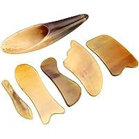 QGEM Gua Sha 6pcs/set Scraping Massage Werkzeug Horn Schaber Guasha Board Massagetool Massagestab für Akupressur Akupunktur Therapie/gelb
