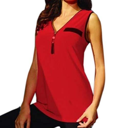 Damen V-Ausschnitt Tank Top Mit Reißverschluss Frauen Chiffon Sommer Mode Spleißen Bluse Casual Leicht Tee Bluse Oversize Oberteile T-Shirt (L, Rot)