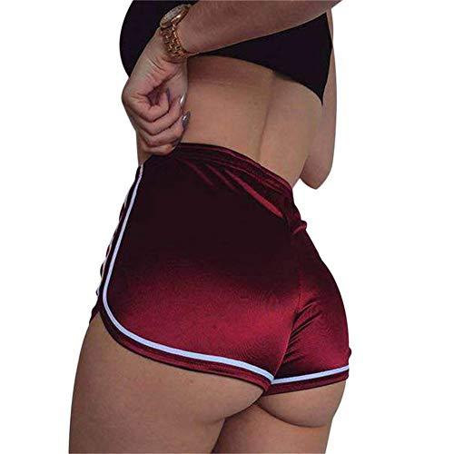Yaogroo Frauen-reizvolle elastische hohe Taillen-Kurzschlüsse-Silk dünne sportliche Sportgymnastik-Workout-Yoga-Hot Pants (Rot, M) - Booty Shorts