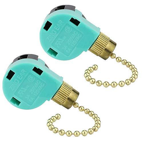 ZE-268S6 - Interruptor de cadena de 3 velocidades y 4 cables para ventilador de techo, control de luz...