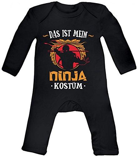 m Ninja Babybody | Verkleidung | Karneval | Fasching | Langarm | Langärmliger Strampler, Farbe:Schwarz (Black BZ13);Größe:3-6 Monate (Baby-mädchen Ninja Kostüm)
