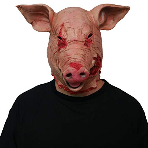 Latex Tier Horror Schwein Kopf Maske Requisiten Erwachsene Scary Requisiten Lustige Clown Maske Headset Maskerade Halloween Cosplay Maske Tier ()