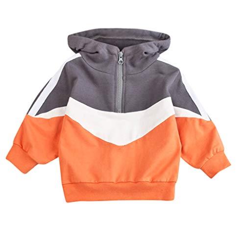 Proumy Baby Jungen Mädchen 1/4 Reißverschluss Kapuzenoberteile Mode Vintage Pullover Sweatershirt Kleidung eingestellt(Orange,Recommend Age:2-3 Years) -
