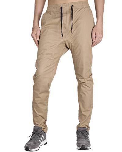 THE AWOKEN Jogging Pantalon Hombre Skinny Trabajo Cordón (Caqui, S)