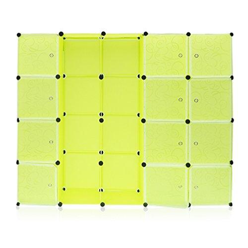 BlackEdragon Garderobe Kleiderschrank Kombischrank Schrank Schuhregal Schuhschrank Regalsystem 20 würfel mit 2 Kleiderstange,Steckschrank DIY für hängende Kleidung - Platzsparende (Frucht grün) - 2 Würfel Pfund