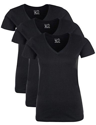 Berydale Damen T-Shirt mit V-Ausschnitt, 3er Pack, Schwarz, L