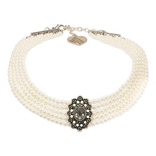 Alpenflüstern Trachten-Perlen-Kropfkette Luzia Trachtenkette, eleganter Damen-Trachtenschmuck, Dirndlkette Creme-weiß DHK227