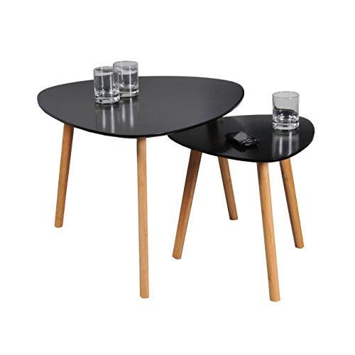 WEBER INDUSTRIES Lot de 2 Tables Basses gigognes Onyx Bois, Noir, 60 x 60 x 45 cm