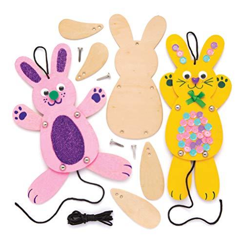 """Baker Ross Bastelsets Holzpuppen """"Hasen"""" (4 Stück) – Bastelidee zu Ostern für Kinder zum Zusammensetzen und Dekorieren"""