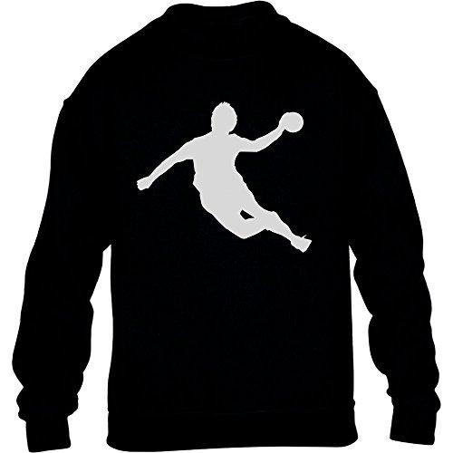 Handball Spieler in Action Silhuetten Fan Geschenk Kinder Pullover Sweatshirt M 140 Schwarz