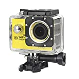 Kcanamgal Bewegungskamera 4K, Wifi-Kamera 96 Fuß-Unterwasserwasserdichter Nocken 2 Zoll LCD-Bildschirm 170 Grad Breiter Betrachtungswinkel,Yellow