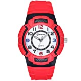 SOCICO Kids Watch, Children Analog Watch Waterproof Time Teaching Boys Girls Watch Soft Band Wrist Watch Red