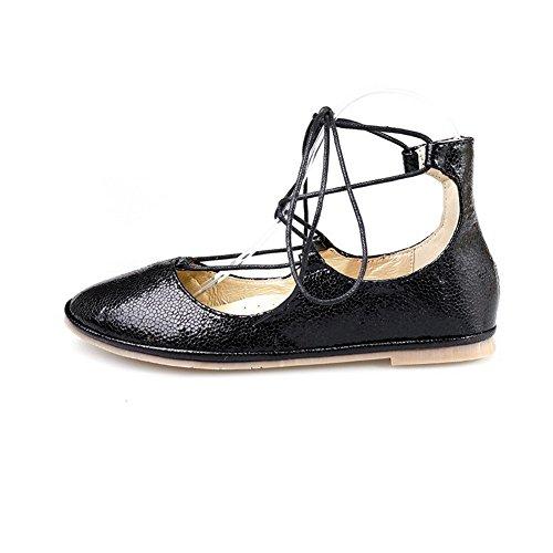 AgooLar Femme Non Talon Couleur Unie Lacet Rond Chaussures à Plat Noir