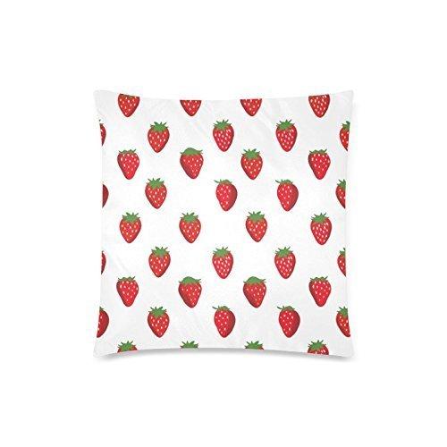 Funny Fraise fraises Coussin cas – Couvre-lit décoratif carré taie d'oreiller housse coussin Case Taie d'oreiller avec fermeture éclair dissimulée – 45,7 x 45,7 cm, twin-sided Imprimé