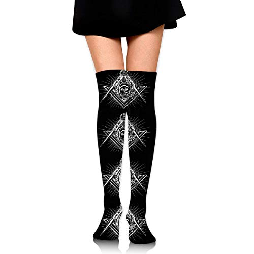 Le Kalb Boot (XIUZHIZH Women Lady Girl Freemasonry Freemason Logos Black Knee High Fashion Comfortable Boots Socks Cotton Athletic Over The Knee Tube Socks Thigh High Stockings for Great Gifts)