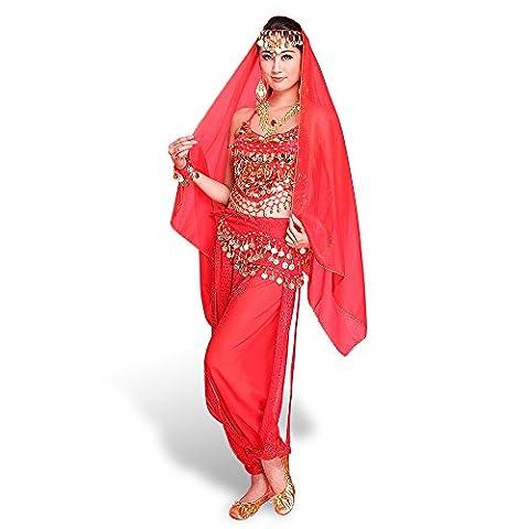 Femme Belly Danse du Ventre déguisement Costume Orientale Danse Top + Pantalons + Ceinture + Voile de tête