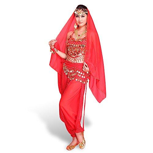 (CoastaCloud Bauchtanz Kostüm Schürze Belly Dance indischen Tanz Kleidung Bra-Free Kostüm Performance Set Halter Top Harem-Hosen-Hose mit Gürtel / Gesichts-Schleier / Kopfstück / Armband / Halskette 7Pcs(Rot))