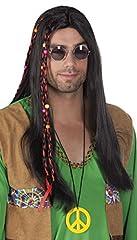 Idea Regalo - Boland 86368 - Parrucca Lunga Hippie Flower Power Liscia, Castano