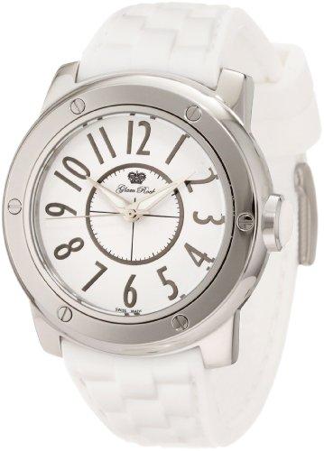 Trendy Modeschmuck (Glam Rock 0.96.2599 Unisex Quartz-Uhr mit weißem Zifferblatt Analog-Anzeige und weiße Silikon Strap)