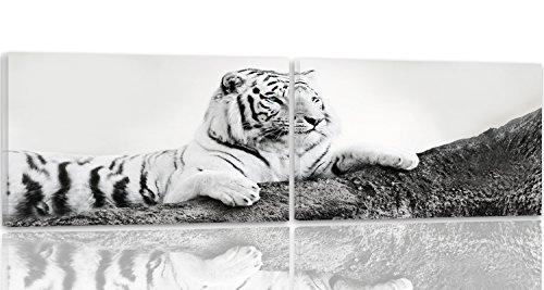 Feeby Frames, Leinwandbild, Bilder, Wand Bild - 2 Teile - Panoramabild, Wandbilder, Kunstdruck 180x60 cm, TIGER, TIER, SCHWARZ-WEISS