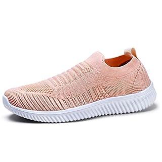 HKR Damen Walkingschuhe Atmungsaktive Sportschuhe Weiche Damenschuhe Jogging Fitness Schuhe Krankenschwester Schuhe Pink EU 38