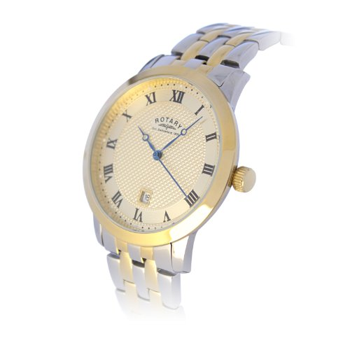 Rotary Men's Round Two-Tone Gold Plated Bracelet Watch GB42826/08