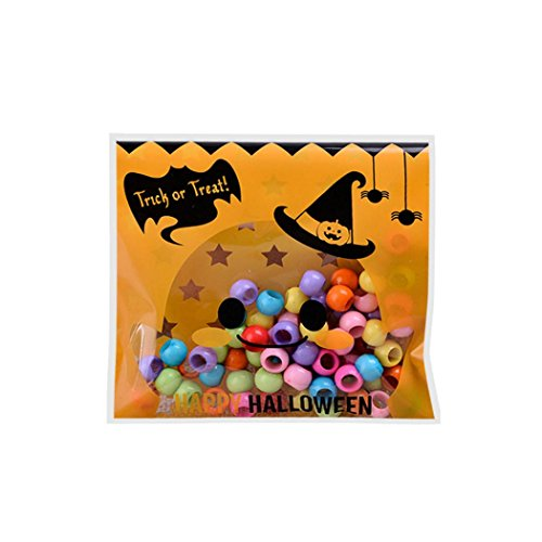 HKFV 100 pcs Happy Halloween Candy Bag Snack Packet Children Household Kid Garden Home Decor (Multicolor) 10cm * 10cm (A)