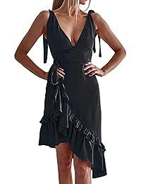 iHENGH Damen Sommer Rock L/ässig Mode Kleider Bequem Frauen R/öcke /ärmelloses V Ausschnitt R/üschen Wickelkleid Asymmetrische Sommer Sommerkleid Urlaub