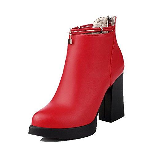 AgooLar Damen Reißverschluss Stiletto Schließen Zehe Stiefel, Rot, 39