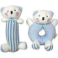 Goldore Baby Infant Plush Rattle Giocattoli dell'orso del fumetto bambino molle 2pcs / set