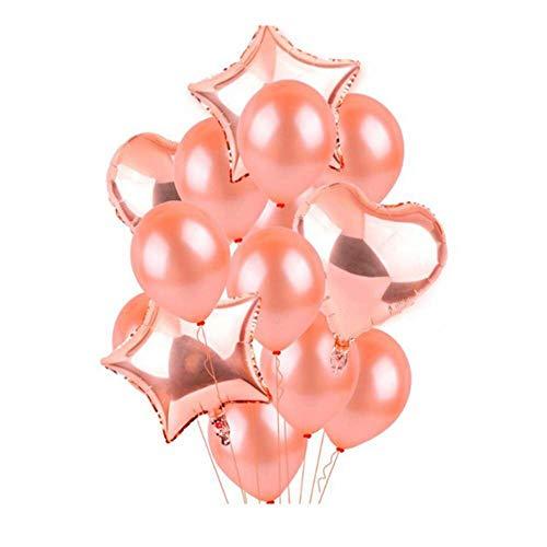 Scrox 14pcs Set de Globos de Cumpleaños Creativo Forma de Corazon Globo de Latex Oro Rosa Pentagrama Globos de Helio Boda Decoracion para Fiesta Juguete