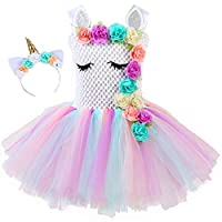 Girls Princess Unicorn Flowers Rainbow Tutu Dress with Cotton Lining & Headband Horn