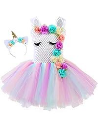 yeesn Vestidos de Fiesta de Princesa Unicornio Rainbow Tutu Ballet para niñas