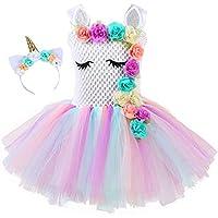 4024f83587e75 yeesn Vestidos de Fiesta de Princesa Unicornio Rainbow Tutu Ballet para  niñas