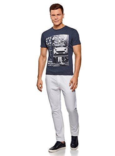 oodji Ultra Herren Gerades T-Shirt mit Druck Blau (7910P)