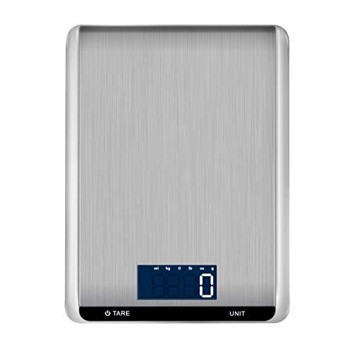 Hotchy Digital Báscula con Pantalla LCD para Cocina de Acero Inoxidab