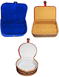 Afrose Combo 1 Pc Earring Box 1 Pc Blue Ear Ring Folder 1 Pc Bangle Box Jewelry Vanity Case