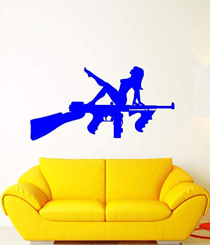 guijiumai Vinile Applique Assault, Fucile Arma Pistola Adesivo Ragazza Nuda, Arma, Pistola Adesivo da Parete, Decorazione Soggiorno casa Q 7 111x57cm