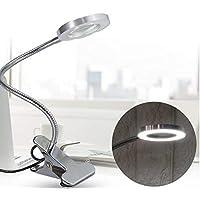 Lámpara Escritorio Lupa 2.5x LED, Lámpara Lupa Iluminadora de Lectura Recargable USB Con Clip Maquillaje Portátil Tatuaje Clip Lámpara Cuidado de la Piel Belleza Uñas