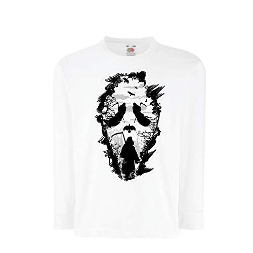 lepni.me Kinder-T-Shirt mit Langen Ärmeln Tribal Sensenmann Schrei - Tod gruselig beängstigend (7-8 Years Weiß Mehrfarben)