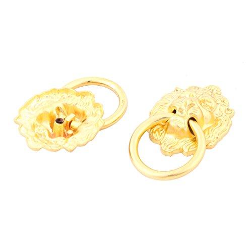 Preisvergleich Produktbild sourcingmap 2 Stk Metall Lion Kopf geformt Schubladenschrank Tür Ring Zuggriff Gold Ton