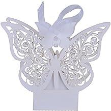 100 pcs Cajas Papel de Caramelo Dulces Bombones Regalos Recuerdos Detalles de Boda Fiesta Bautizo Cumpleaños Graduación para Invitados Mariposa con Cintas (Blanco)