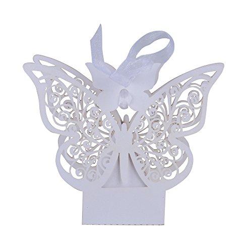 100 pz scatole farfalla per confetti scatoline bianco perlato bomboniere portaconfetti segnaposto regalo per matrimmonio comunione battesimo