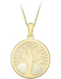 Carissima Gold Damen-Kette mit Anhänger 375 Gelbgold Perlmutt weiß Rundschliff 46 cm - 1.46.2264