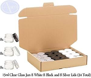 Confezione mista - Vasetti 15ml in vetro trasparente con coperchio bianco, nero o argento - Confezione da 24