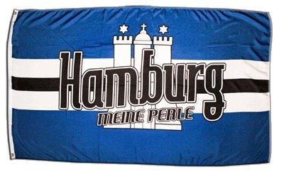 Fahne / Flagge Hamburg Meine Perle 3 + gratis Sticker, Flaggenfritze®