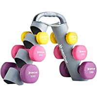 Gold Coast 12kg Neoprene Dumbbell Set with Adjustable Carry Stand | Free Weights and Storage Rack | for Strength Training in the Gym or Home Fitness