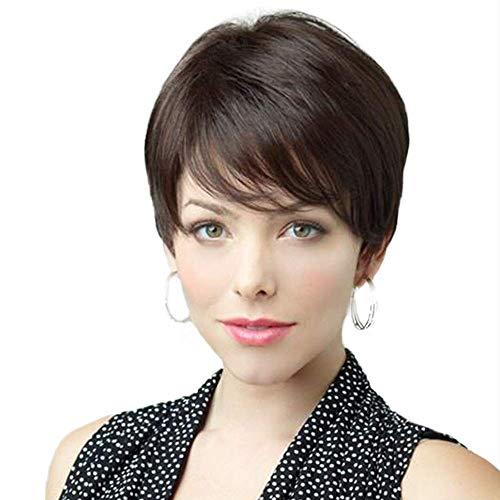Haircube parrucca marrone naturale capelli umani con frangia laterale parrucche per le donne